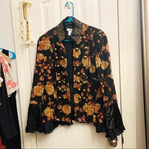 Newport News Floral Beaded Frilly Jacket